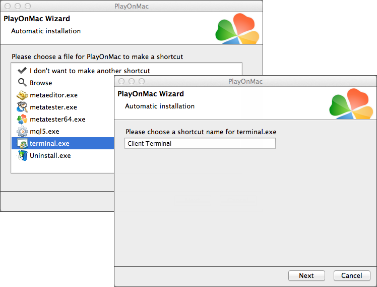 Create shortcuts for the platform components