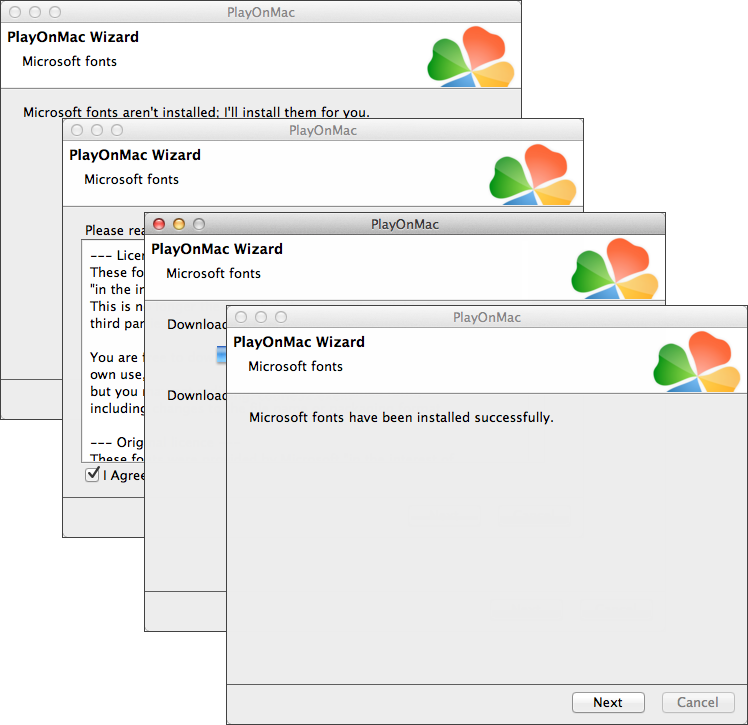 Follow the wizard steps to install MS Windows fonts, required for correct operation