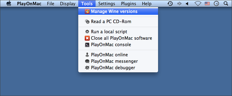 Open a dialog for managing Wine versions